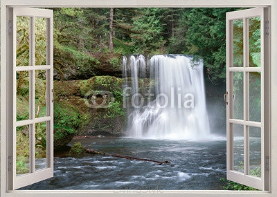 Open window view to Upper Notrh Falls and river 89770545