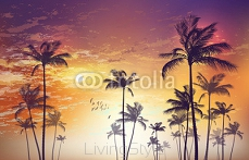 Exotic tropical palm tree landscape   at sunset or moonlight,  with cloudy sky. Highly detailed  and editable 110993194
