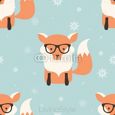 Seamless Merry Christmas patterns with cute hipster fox 124386598