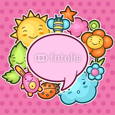 Cute child background with kawaii doodles. Spring collection of cheerful cartoon characters sun, cloud, flower, leaf, beetles and decorative objects 101131248