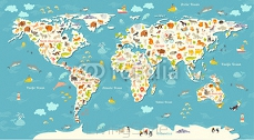 Animals world map. Beautiful cheerful colorful vector illustration for children and kids. With the inscription of the oceans and continents. Preschool, baby, continents, oceans, drawn, Earth 104101938