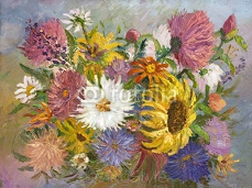 bright colorful bouquet painting oil on canvas 80863693