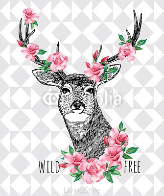Wild and free. Deer with roses hand drawn illustration 93890431