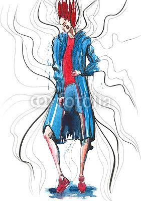 Fashion girl in sketch-style.watercolor illustration. 110487565