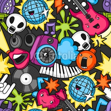 Music party kawaii seamless pattern. Musical instruments, symbols and objects in cartoon style 116617446