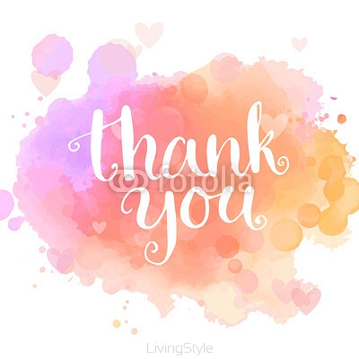 Thank you card. Handwritten white phrase on pink watercolor imitation background. Modern calligraphy style. Vector typography design 95837036