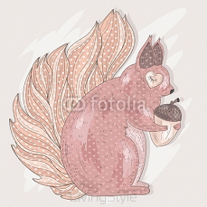 Cute pink squirrel holding acorn. Illustration for kids or child 99318941
