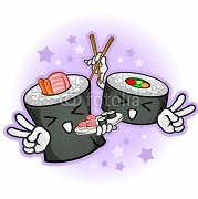 Sushi Cartoon Characters Giving Peace Signs with Chop Sticks 63043053