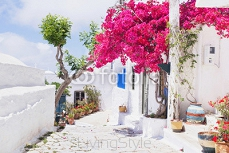 Traditional greek street with flowers in Amorgos island, Greece 112748863
