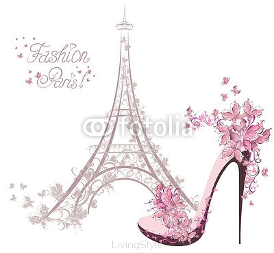 High-heeled shoes on background of Eiffel Tower. Paris Fashion 60842864