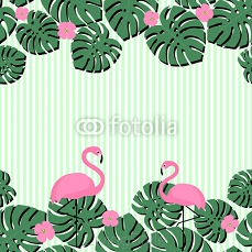 Summer card with tropical palm leaves and flamingo on stripped background. Summer design with space for text. Pink flamingos and green palm leaves illustration. 108153337