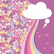 Background with doodle. Vector cute kawaii illustration. 45779560