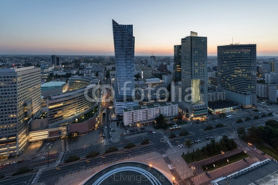 Panorama of Warsaw city center during sundown 69127594