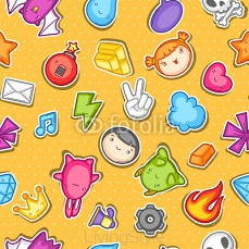 Game kawaii seamless pattern. Cute gaming design elements, objects and symbols 118394216