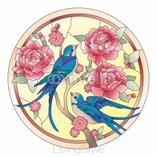 Vitrazh birds with flowers 80964574