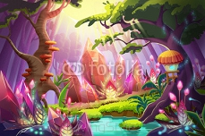 Illustration: The Mysterious Forest with Huge Diamonds Clusters. Realistic Fantastic Cartoon Style Artwork Scene, Wallpaper, Story Background, Card Design 99302588