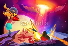 Illustration: The Boy Finally get the Chance to Escape from Alien Planet. Must Give it a Missile of course before he leaves. Story with Fantastic Cartoon Style Scene Wallpaper Background Design.