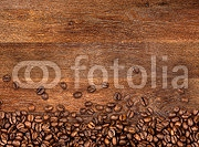 coffee background with beans on rustic old oak wood 104485723