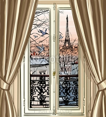 Window with Eiffel tower and roofs view 121436584