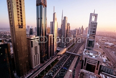 Dubai skyline in sunset time, United Arab Emirates 129345046