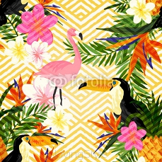 Tropical Geometric Summer. Tropical summer seamless vector pattern background. 107706123