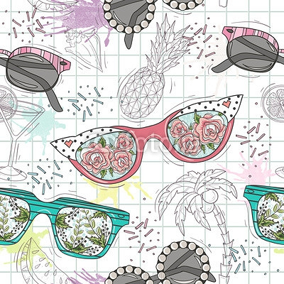Cute summer abstract pattern. Seamless pattern with sunglasses. Fun pattern for children or teenager girls. 111470604