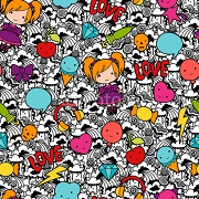 Seamless kawaii child pattern with cute doodles. 57994833