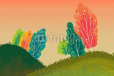 Illustration for Children: Beautiful Little Hills with Colorful Trees. Realistic Fantastic Cartoon Style Artwork / Story / Scene / Wallpaper / Background / Card Design