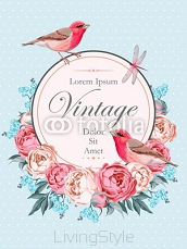 Beautiful vintage vector card with birds 107562170