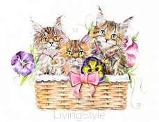 Three cats on the basket with flowers. Decoration with kittens & flowers. Watercolor hand drawn illustration. 106211545