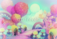 Illustration: The Colorful Forest on the other side of the Snow Mountain with Cold Moon Creeping up the Sky. Version 3: Vintage Style. Realistic / Cartoon Style. Scene / Wallpaper Design. 94383507