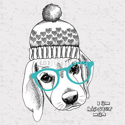 Image portrait of a dog (Beagle) in a hat and glasses. Vector Image. 113246618