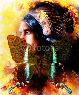 beautiful painting of a young indian warrior wearing a gorgeous feather headdress and butterfly, profile portrait. abstract color background. Transformation concept. 97686201