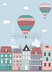 Hot air balloons over the Paris. 67614199