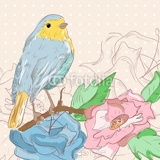 vector illustration of birds sitting on a branch with flowers. P 72496576