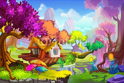 Creative Illustration and Innovative Art: The Tree House Scene. Realistic Fantastic Cartoon Style Artwork Scene, Wallpaper, Story Background, Card Design  102904916