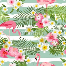 Flamingo Background. Tropical Flowers Background. Vintage Seamless Pattern 106916051
