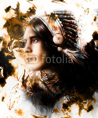 beautiful painting of a young indian warrior wearing a gorgeous feather headdress, profile portrait, r abstract color background, White, black and brown color 97681452