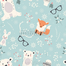 Seamless Merry Christmas patterns with cute polar animals, bears 124386852