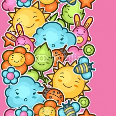 Seamless kawaii child pattern with cute doodles. Spring collection of cheerful cartoon characters sun, cloud, flower, leaf, beetles and decorative objects 101131211