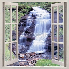 Open window view to small waterfall 106425172