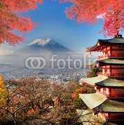 Mt. Fuji with fall colors in Japan. 72848283