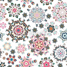 Seamless pattern. Vintage decorative elements. Hand drawn background. Islam, Arabic, Indian, ottoman motifs. Perfect for printing on fabric or paper. 124952467
