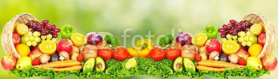 Fruits and vegetables over green background. 94970733