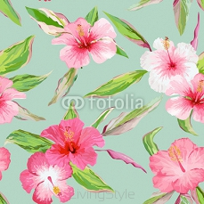 Tropical Leaves and Flowers Background. Seamless Pattern in Vector 115336117