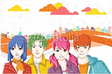 Group of cartoon young people in the city. Manga anime teenagers.