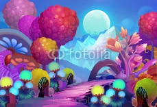 Illustration: The Colorful Forest on the other side of the Snow Mountain with Cold Moon Creeping up the Sky. Realistic / Cartoon Style. Scene / Wallpaper Design. 94383520