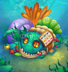 Illustration: Undersea Houses - The Fish House. There is a town in the sea. Residents there built many cute and strange houses. - Scene Design - Fantastic Style 94552021