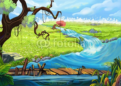 Illustration: The Riverside. Tree, Flowery Fields, and Bridge. Realistic Cartoon Style Scene / Wallpaper / Background Design.