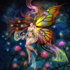 Illustration: The Butterfly Fairy. Realistic / Fantastic Style. Scene / Wallpaper / Background Design.  94382772